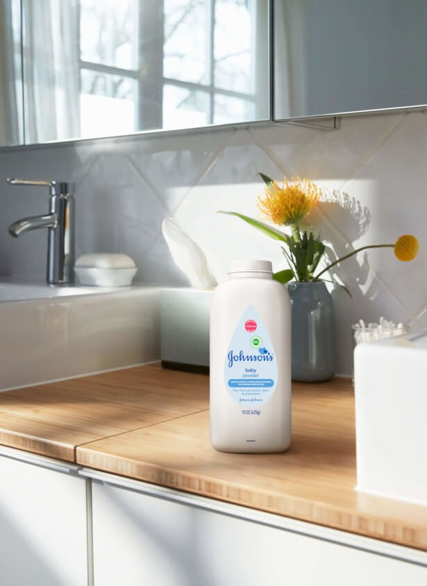 Johnson's® Baby Powder for adults on counter